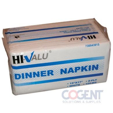 Dinner Napkin 15x17 2-ply Wht 20/150cs 3000/cs