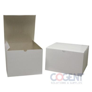 Gift Box White Gloss Gray Int 6-1/2x6-1/2x1-5/8 2Pc 100/cs