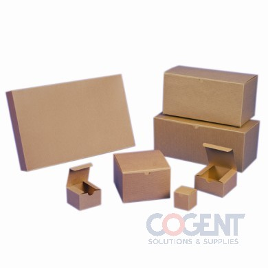 Gift Box Rec Kraft Pinstripe 6-1/2x6-1/2x1-5/8 2Pc 100/cs