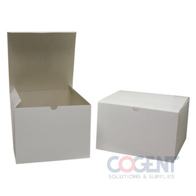 Gift Box White Gloss Gray Int 8x8x3.5   1Pc 100/cs      54120