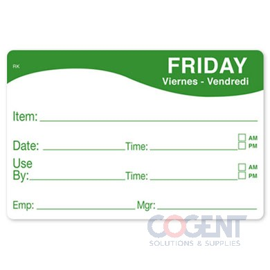 "Label 2""x3"" Friday Food Date Removable Remark 500/rl"
