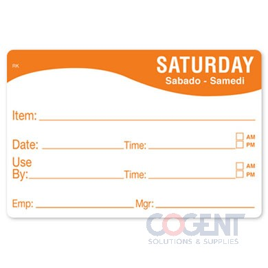 "Label 2""x3"" Saturday Food Date Removable Remark 500/rl"