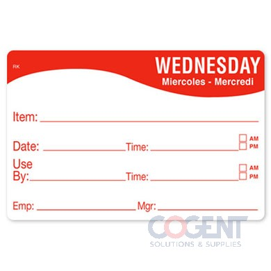 "Label 2""x3"" Wednesday Food Date Removable Remark 500/rl"