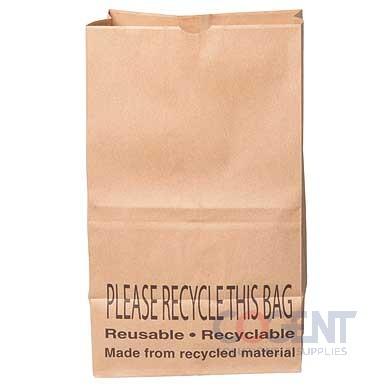 Grocery Bag #25SH 100% Recy 40# 8.25x6.25x15.75 500/bl      DUR