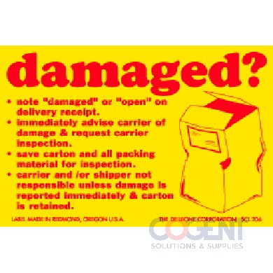 "Label Damaged? 2""x3"" Yellow w/Red 500/rl"