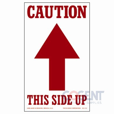 "Label Caution This Side Up 3""x5"" White w/ Red Arrow 500/rl"