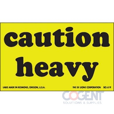 "Label Caution Heavy 3""x5"" Fluor Yellow w/Blk 500/rl"