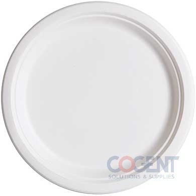 "Plate 7"" Sugarcane White Bagasse Compost 1000/CS EP-P011"
