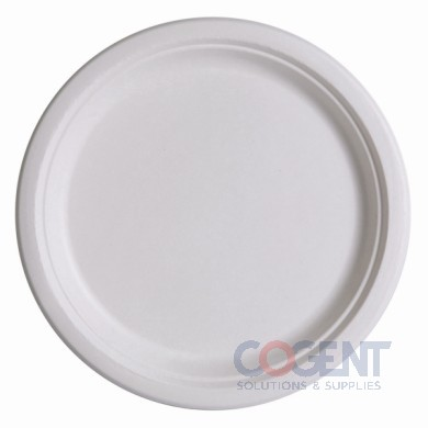 "Plate 9"" Sugarcane White Bagasse Compost 500/CS  EP-P013"
