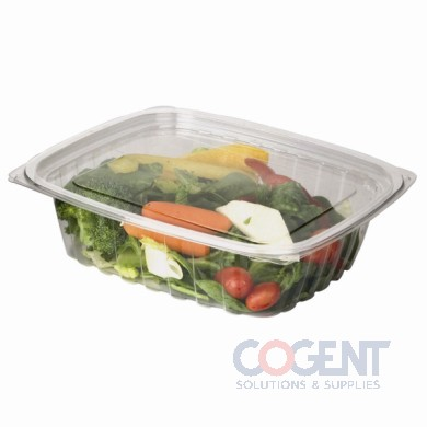 Container Deli Rect 24oz Clear Compostable w/Flat Lid 200/cs