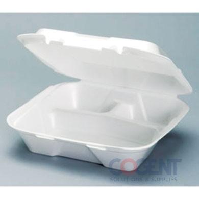 "Container Foam H/L White 3 Comp 9.25""x9.25""x3"" 200/cs"