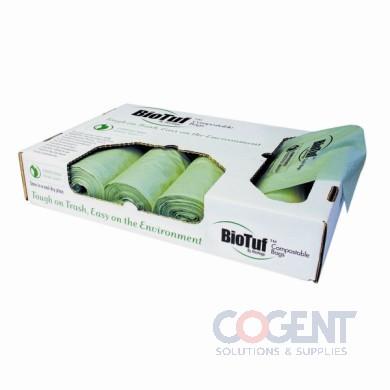 Can Liner 24x32 1mil Green 13gal BioTuf 200/cs         HER