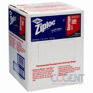 Poly Bag Ziploc 7x8 1qt Clr w/ Writing Block 500/cs 94601