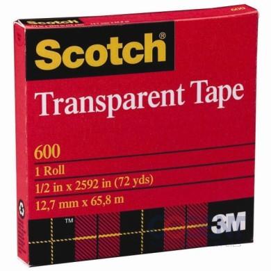 "Scotch Tape 3/4""x72yd Clear #600 3"" Core 48rl/cs         3M"