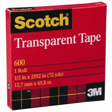 "Scotch Tape 1""x72yd Clear #600 36rl/cs                      3M"