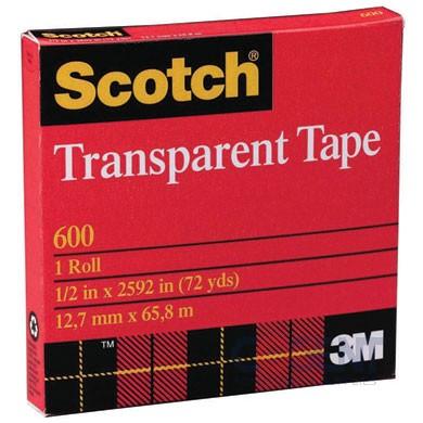 """Premium Transparent Film Tape 3/4""""x36yd 144rl/cs 3M 600 1""""Cor"""