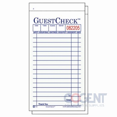 Guest Check 2 Part Green Booked 3.5x6.75 50sht/bk 50bk/cs 10450
