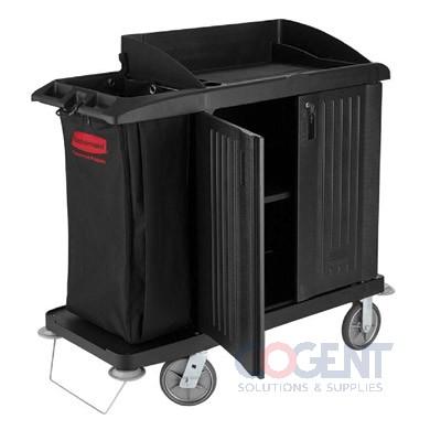 Cleaning Cart- 3 Shelf  Black W/Door 22x49x50  RCP6192  ESS