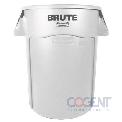 Brute Container 44gal WHITE Rubbermaid Round Vented 4/cs