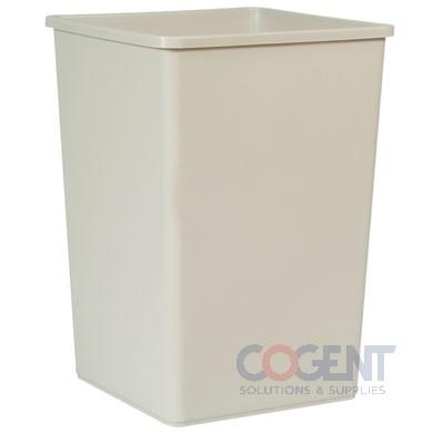 Plaza Waste Container Rigid Liner Square Plast 35gal Beige