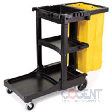Cleaning Cart w/Zippered Yellow Vinyl Bag   BLACK  FG617317BLA