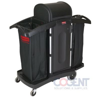 Housekeeping Cart-High Security 2 Shelf 22x51.75x53.5 Blk/Silvr