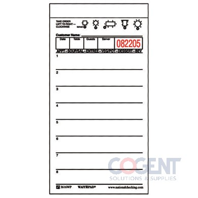 Guest Check White 1 Part Booked Waiter Pad 100sht/bk 50bk/cs