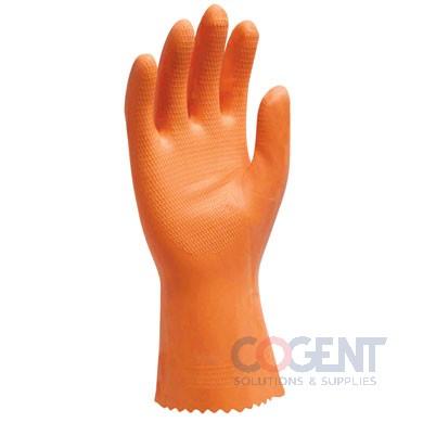 "Gloves 12"" Large Orange Latex Flock Lined Pair 10 dz/cs SAF"