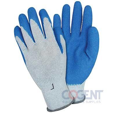 Latex Coated String Knit Gloves 10gauge Poly Blu/White Lrg 1/Dz