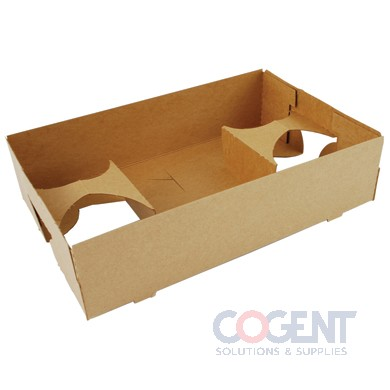 Carrier 4-Cup Food & Drink Tray 10x6.5x2.5 Kraft 250/cs 0120 SC