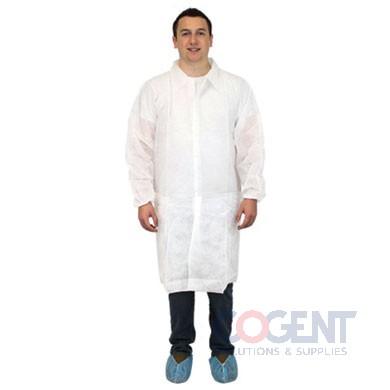 Lab Coat 2X-Large White PP No Pocket Elast Wrist 30/cs
