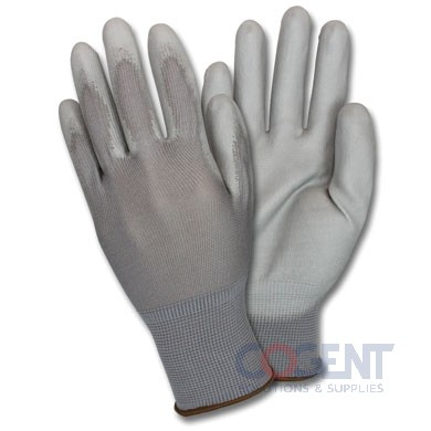 Palm Dipped Glove Large Grey PE Coated