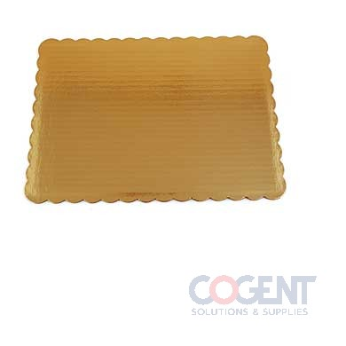 "14""x10"" Gold Corrug Cake Pad SW Scalloped 1/4 sheet 100/cs"
