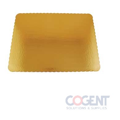 "19""x14"" Gold Corrug. Cake Pad SW Scalloped 1/2 Sheet 100/cs"