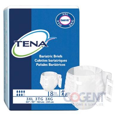 """Bariatric Brief Stretch 3XL Grn 69""""-96"""" 4/8 32/CS 61391 TENA"""