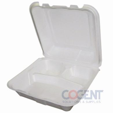 """Cont Foam White H/L 3Comp 9""""x9""""x3.5""""  150/cs"""