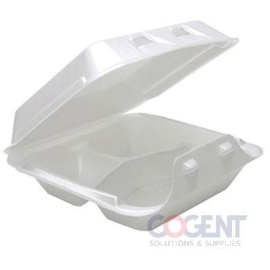 "Container Foam White H/L 3Comp 8""x8.5""x3"" 150/cs"