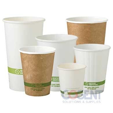 10oz Paper Hot Cup 100% Compost White 1m/cs CU-PA-10         WC