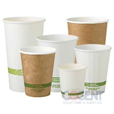 12oz Paper Hot Cup 100% Compost PLA Lined  Kraft  1m/cs